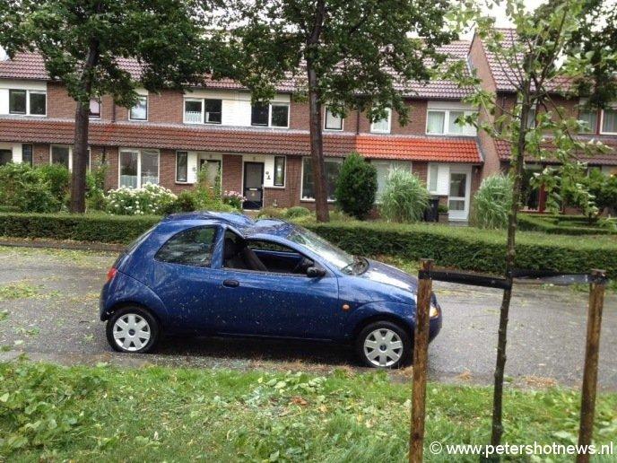 Boom op auto op de Viergang in Mijdrecht, foto Willem Meints