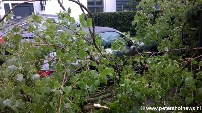 Stormschade Nieuwersluis, Volvo en Porsche met schade, foto Ad Plateijn