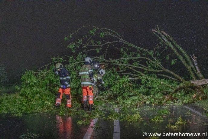 De N201 werd afgesloten vanwege omgevallen bomen.