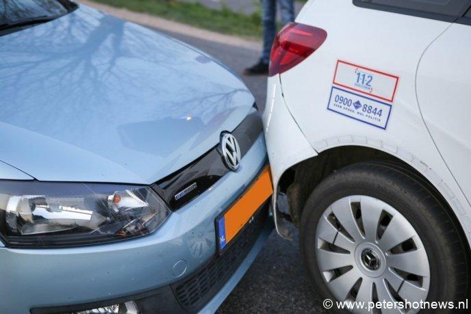 Een klein ongeluk met de politieauto ter plaatse